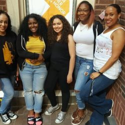 Carolina and Tomiko with students
